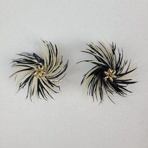 Vintage Black Feathered Flower Plastic Clip On Earrings